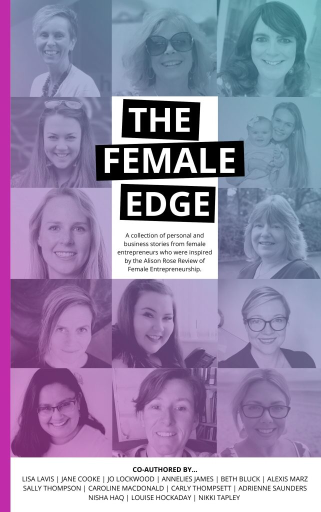 Book cover of 'The Female Edge', in which Caroline Macdonald, founder of OggaDoon, is featured. This is an entrepreneurial book.
