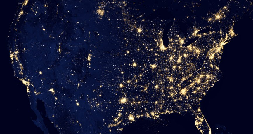 planet from space at night